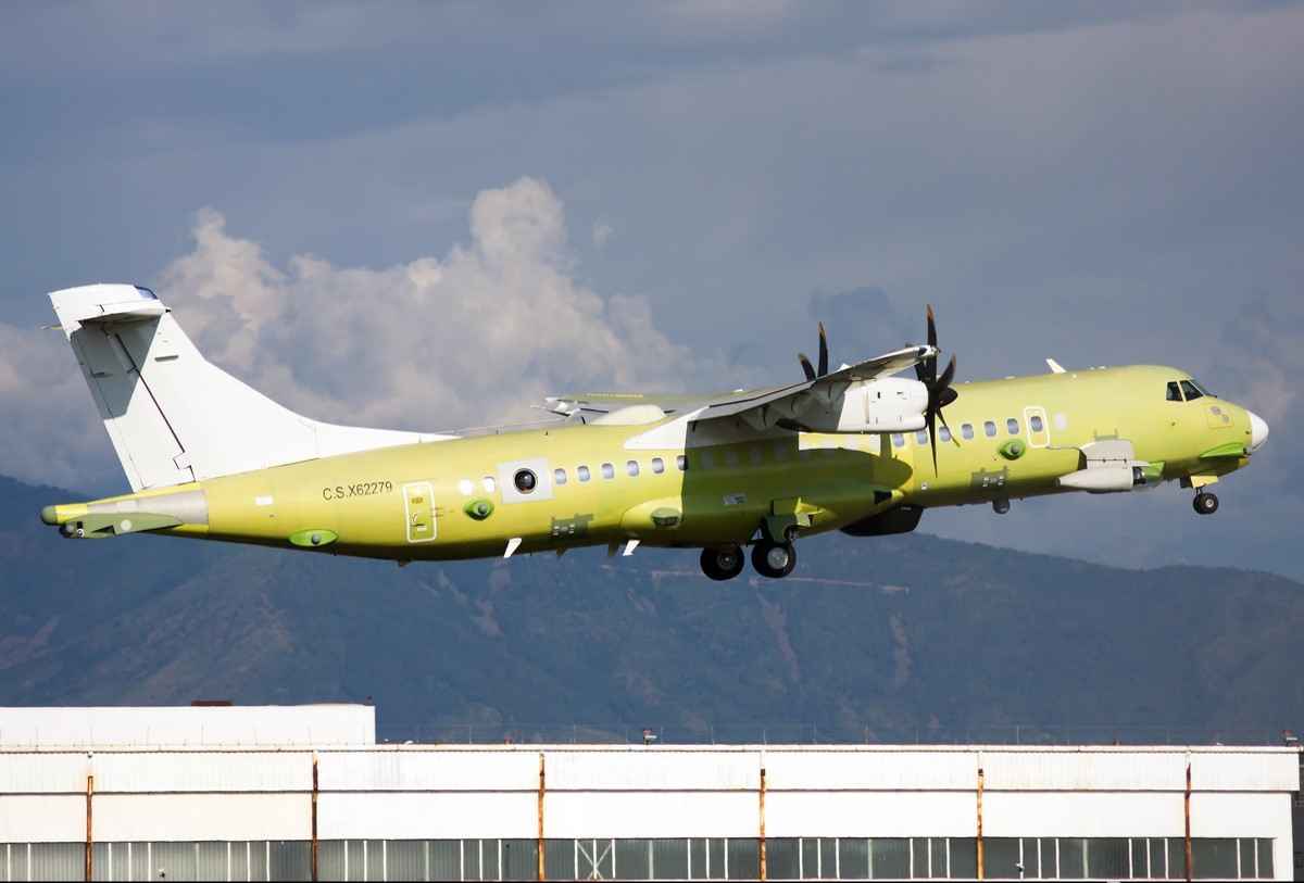 ATR-P 72A MPA aircraft equipped with the Space Engineering Janus Aero antenna system