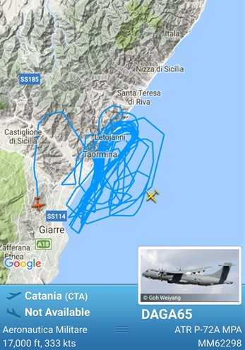 Aircraft's route over Taormina, Italy - May 2017