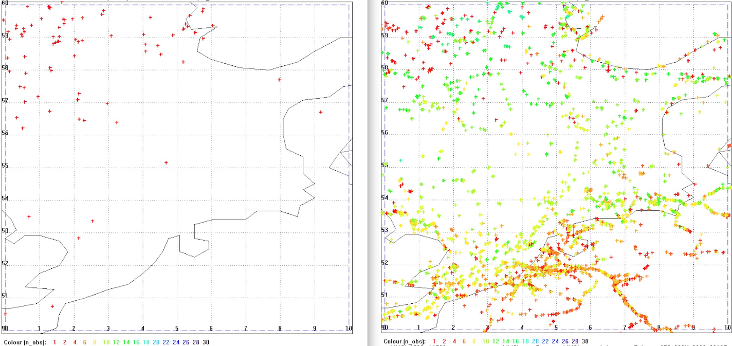 Ships detected by AISSat-1 and 2 (left) and by NorSat-1 and 2 (right) in the North Sea per day. The colour code shows how many times each ship has been observed during the observation period of 24 hours (red->yellow: less observations, green->blue: more observations) ©Norwegian Defence Research Establishment (FFI)