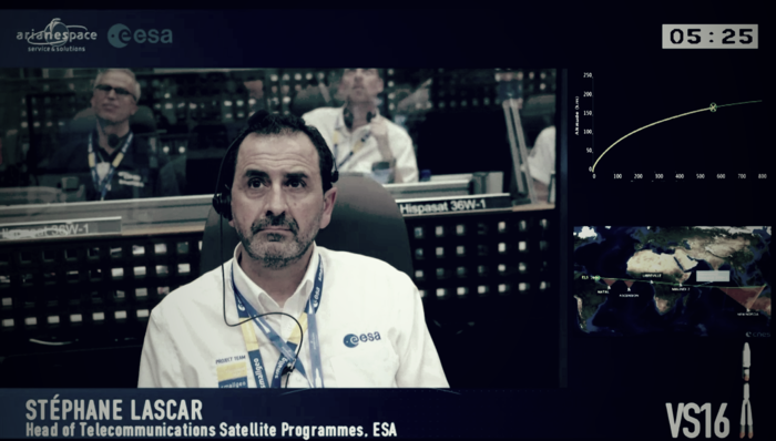 Stéphane Lascar, Head of the Telecommunications Satellite Programmes Department, during SGEO/H36W-1 launch