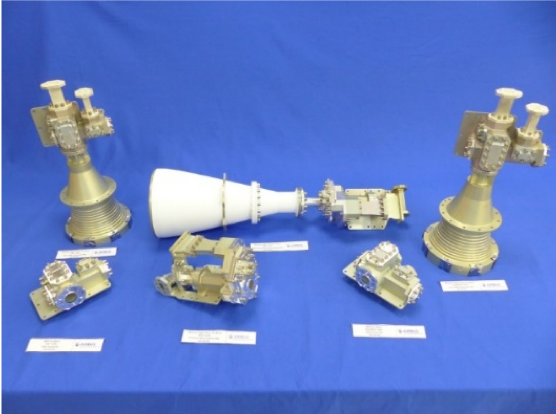 A chess set for astronauts? Not quite – these are qualification models of  Ku-Band feed chains and polariser devices that passed a particularly rigorous series of mechanical, thermal and RF testing. (Image credit: Airbus Defence and Space)