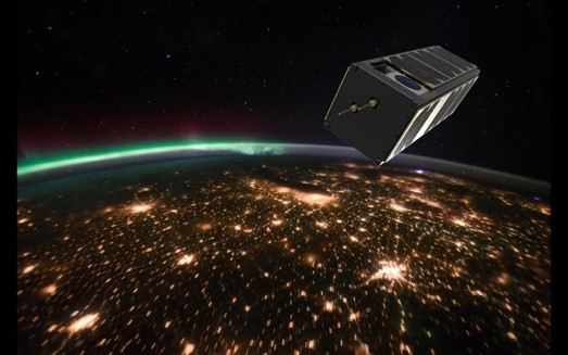 Artist's impression of W-cube CubeSat flying on a Low Earth Orbit. Photograph: VTT and Reaktor Space Lab