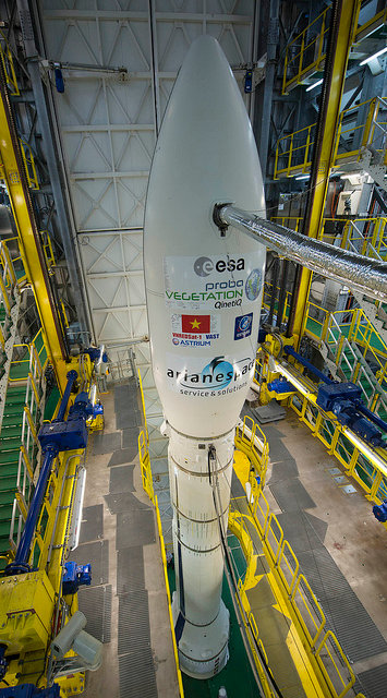 ESA's Vega VV02 rocket is fully assembled in its mobile gantry, 3 May, 2013. Credit:  ESA/S. Corvaja