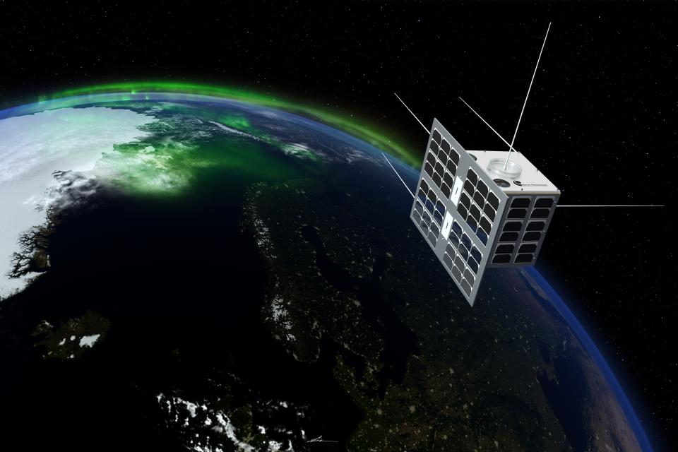 The Norwegian satellite Norsat-1. Illustration: T. Abrahamsen